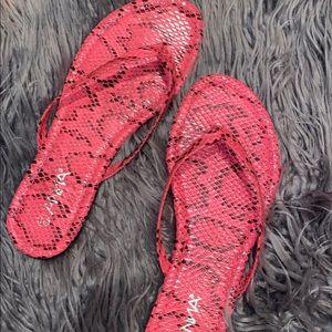 Hot Pink Snake Flip Flop Sandal